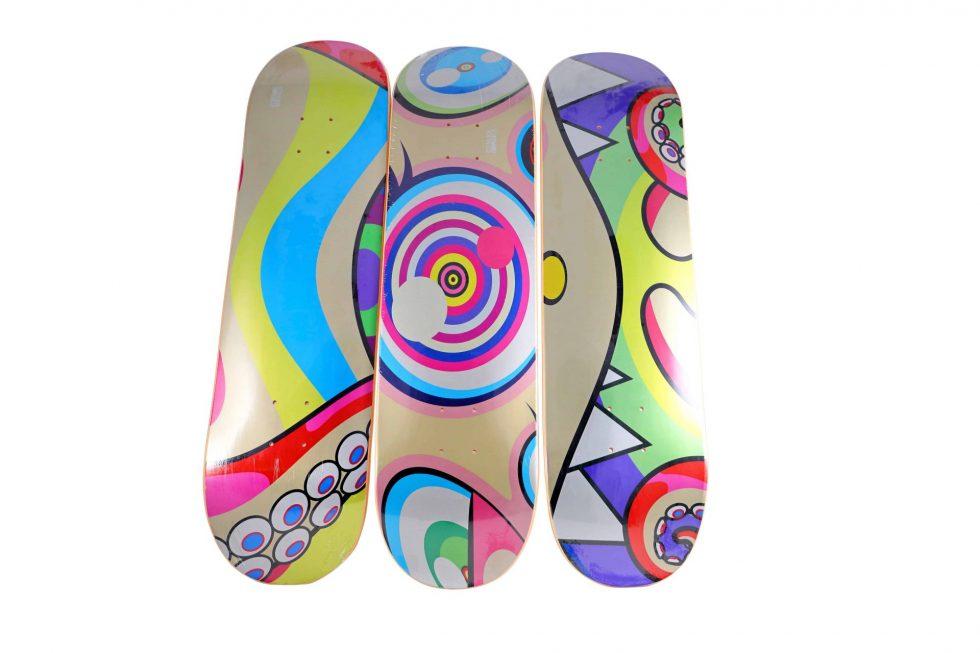 Lot #7114 – Takashi Murakami Triptych DOB Skateboard Decks Skateboard Decks Takashi Murakami