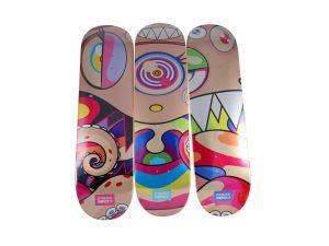 Lot #5992 – Takashi Murakami DOB Triptych Skateboard Decks Skateboard Decks Takashi Murakami