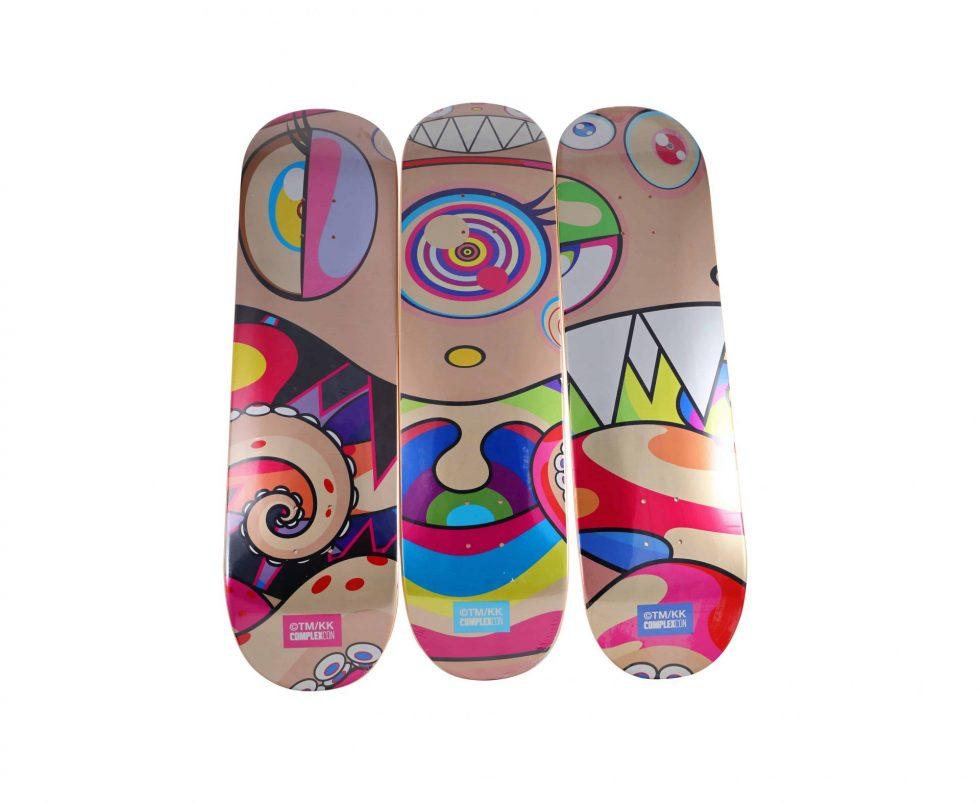 Lot #7138 – Takashi Murakami DOB Triptych Skateboard Decks Skateboard Decks [tag]