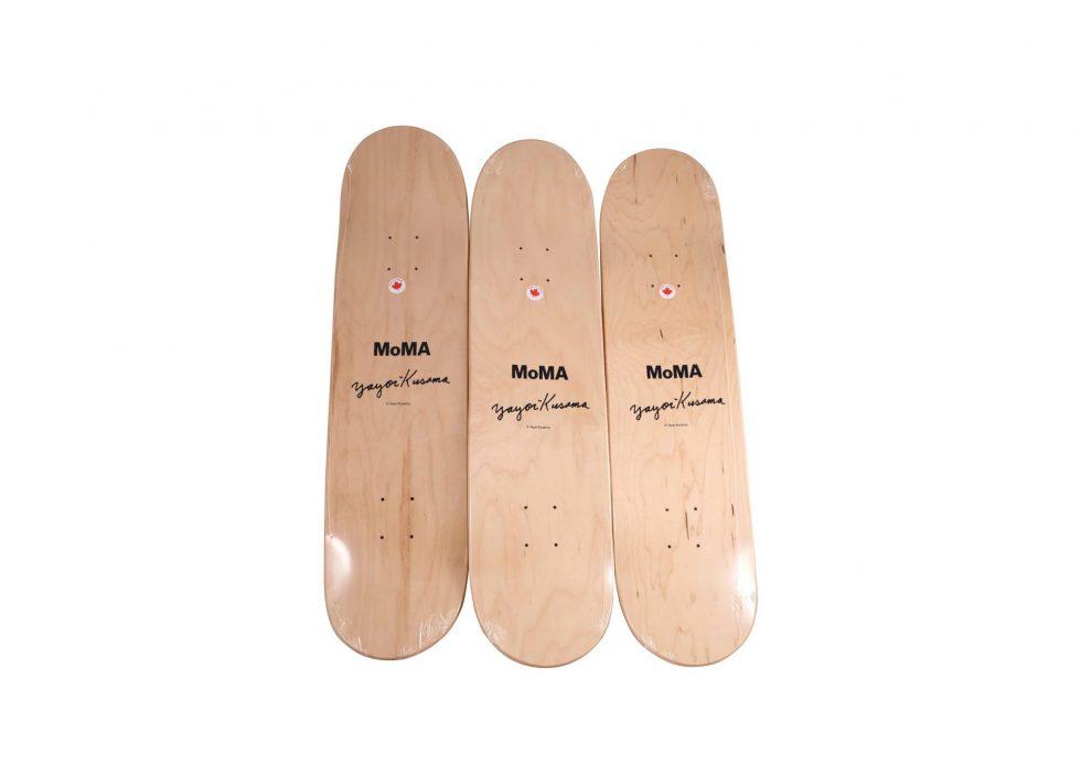 Lot #9831 – Yayoi Kusama Yellow Trees Triptych Skateboard Decks Skateboard Decks [tag]