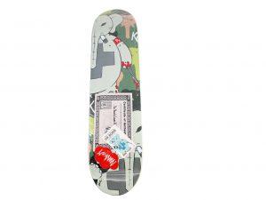 Lot #11194 – Frank Kozik Signed Dr Bomb Camo Skateboard Skate Deck Skateboard Decks Frank Kozik Dr. Bomb Skateboard