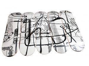 Lot #7276 – Albert Oehlen Untitled Skateboard Skate Deck Set of 5 Skateboard Decks [tag]