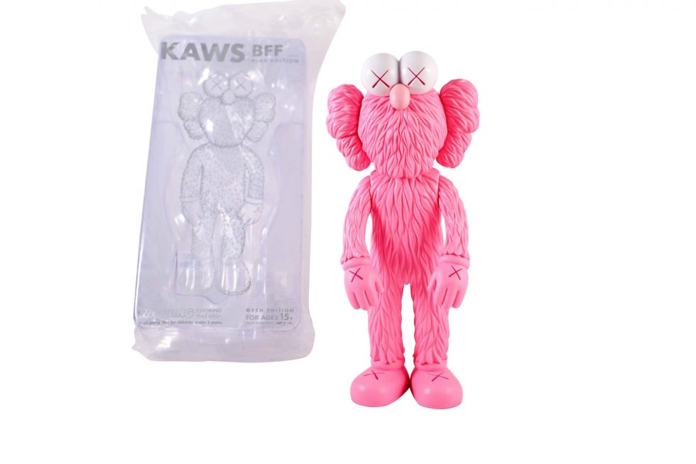 Lot #7432 – KAWS BFF Pink Vinyl Figure Sculpture Open Edition Art Toys [tag]