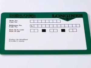 Lot #6301 – Longines Watch Guarantee Warranty Card Longines Longines Certificate of Origin Card