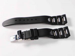 Lot #9156 – Bvlgari Rettangolo 21MM RTC49 Stainless Steel Rubber Watch Bracelet Bvlgari Bulgari Watch Parts