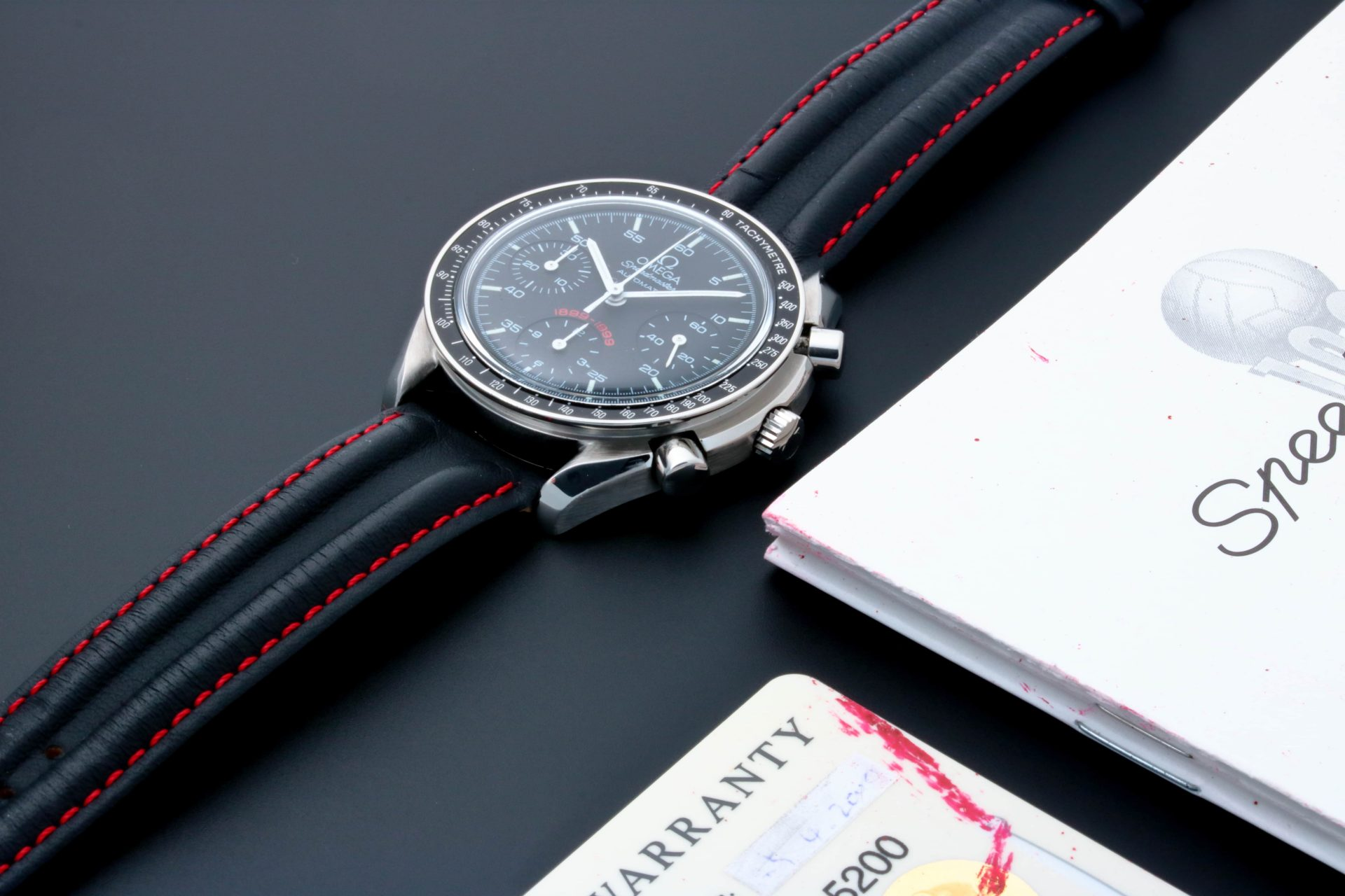 Omega Speedmaster A.C. Milan Watch 3810.51.41 With Warranty Card And Certificate Of Authenticity