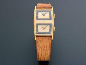 Lot #6605 – Rare Asprey Baume Mercier 32002 18K Yellow Gold Dual Time Vintage Watch Asprey Asprey 32002