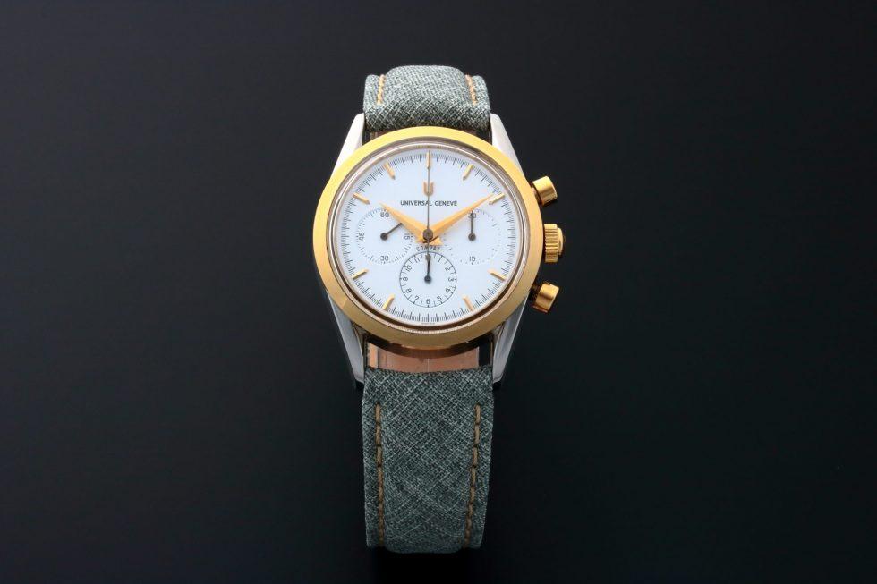 Lot #6640 – Rare Universal Geneve 284.445 Compax Tutone White Dial Watch 284.445 Universal Geneve 284.445