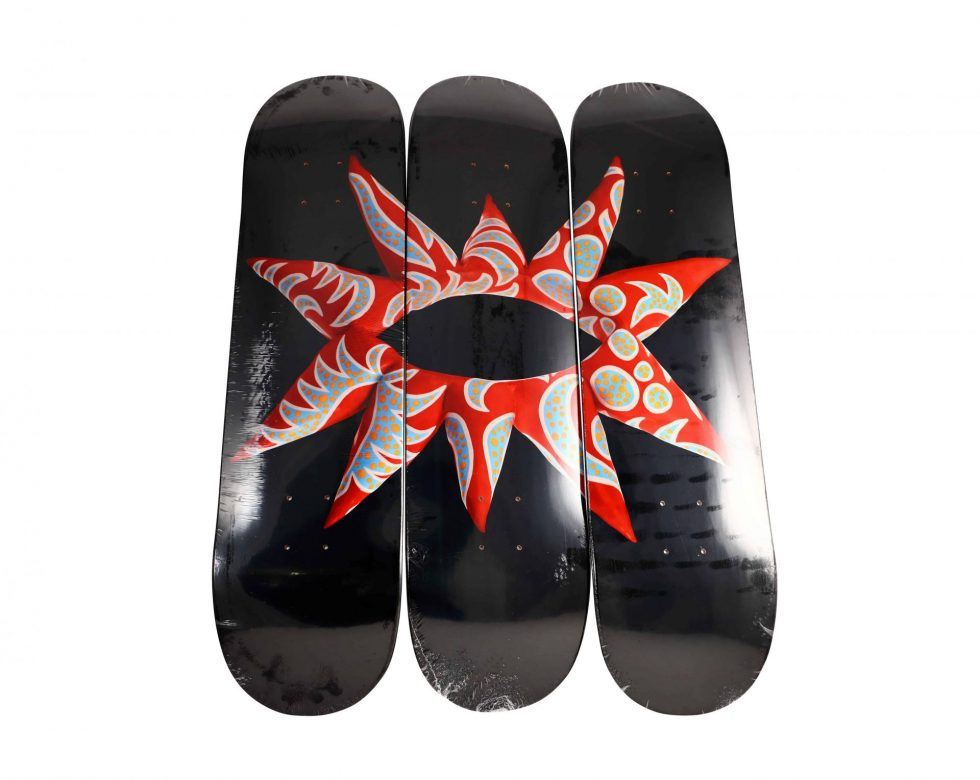 Yayoi Kusama Flowering Heart Triptych Skateboard Deck Set – Baer & Bosch Toy Auctions
