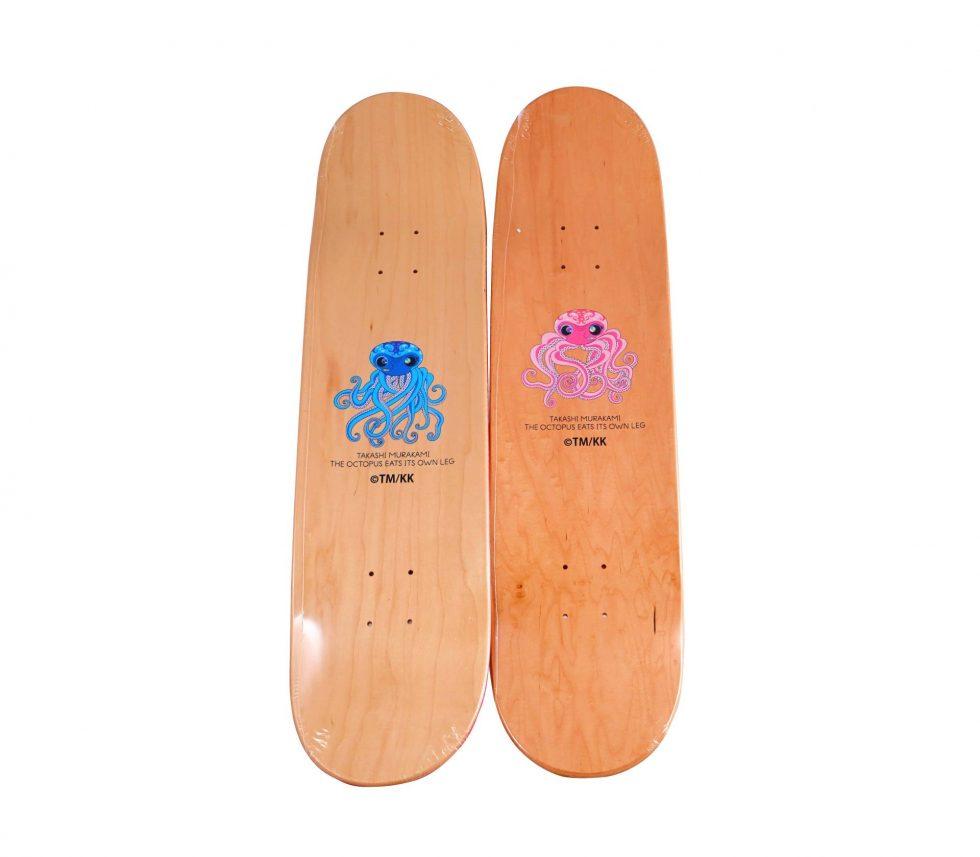 Lot #7122 – Takashi Murakami Octopus Blue and Pink Skateboard Set Skateboard Decks Takashi Murakami