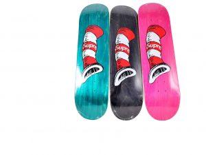 Lot #11099 – Cat In The Hat x Supreme Skateboard 3 Deck Set Skateboard Decks Cat In the Hat