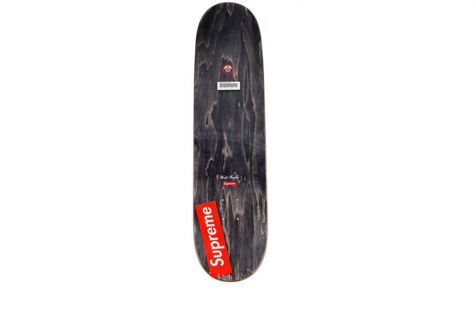 Lot #9787 – Supreme Chrome Logo Yellow Skateboard Skate Deck Skateboard Decks [tag]