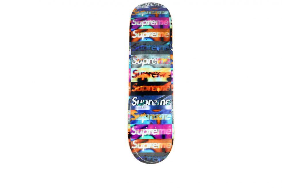 Lot #9788– Supreme Distorted Logo Black Skateboard Skate Deck Skateboard Decks [tag]