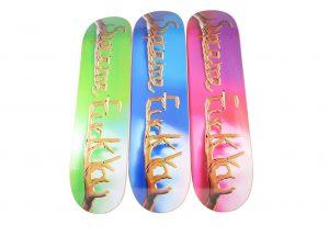 Lot #11198 – F*ck You Supreme Skateboard 3 Deck Set Skateboard Decks Supreme Fuck You Skateboards