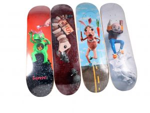 Lot #10585 – Mike Hill x Supreme  Skateboard Deck Set Mike Hill Skateboard