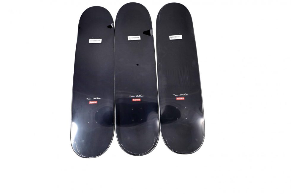 Lot #9758 – Nan Goldin x Supreme Skateboard 3 Deck Set Nan Goldin Deck Set