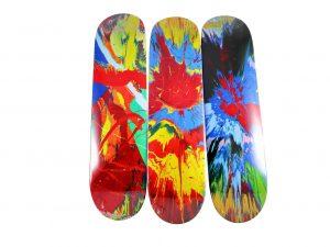 Lot #9717– Damien Hirst x Supreme Spin Skateboard Skate 3 Deck Set Damien Hirst Damien Hirst Spin