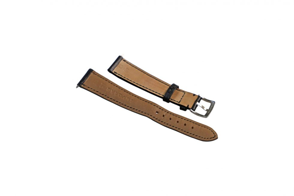 Lot #6429 – Bvlgari Leather Watch Strap with Stainless Steel Bulgari Tang Buckle 18MM 18mm Straps [tag]