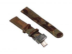 Lot #6434 – U Boat Camo Canvas Leather Watch Strap with Deployant Buckle U Boat [tag]