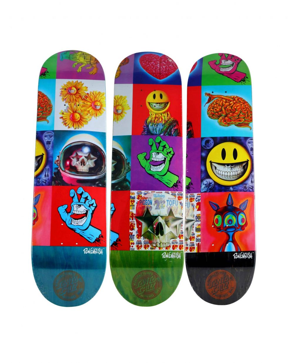 Lot #9768– Ron English x Santa Cruz POPaganda Triptych Skateboard Deck Set Ron English Ron English