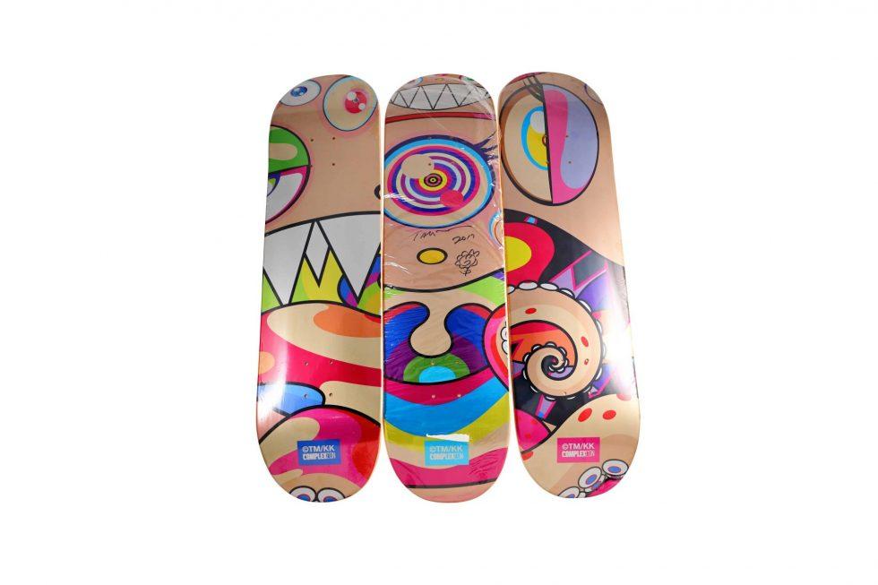 Lot #9821 – Takashi Murakami Signed DOB Triptych Skateboard Decks Skateboard Decks Takashi Murakami
