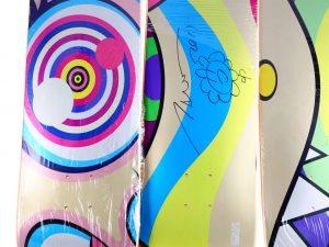 Lot #7337 – Takashi Murakami Signed Triptych DOB Skateboard Decks Skateboard Decks Takashi Murakami