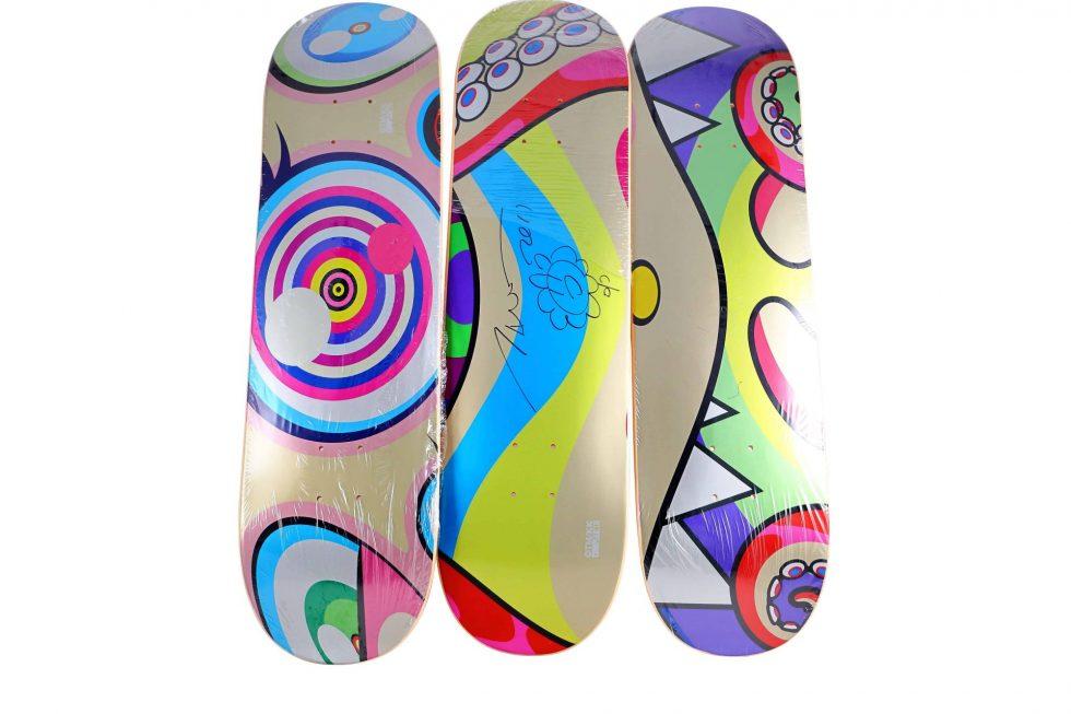 Lot #9822 – Takashi Murakami Signed Triptych DOB Skateboard Decks Skateboard Decks Takashi Murakami