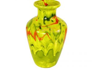 Lot #9048 – Vintage Green and Red Drip Glaze #467 USA Vase Various [tag]