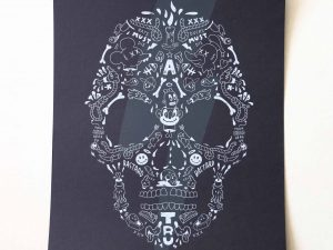 Lot #9506 – Cote Escriva Skull Screen Print Limited Edition of 60 Art Cote Escriva