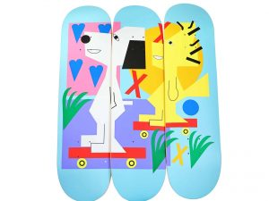 Lot #7597 – Nina Chanel Abney x Peanuts Skateboard Skate Deck Triptych Nina Chanel Abney Nina Chanel Abney