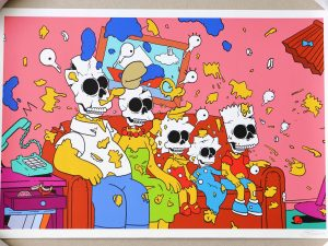 Lot #9504 – Matt Gondek Nuclear Family Simpsons Print Art Matt Gondek Simpsons Nuclear Family
