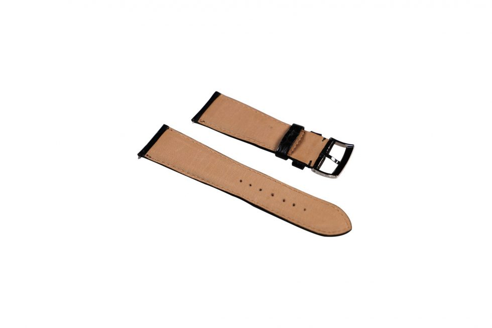 Lot #6457 – Omega 20MM Tang Buckle With 22MM Generic Leather Watch Strap Watch Parts & Boxes [tag]