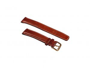 Lot #6469 – Omega 18mm Leather Watch Strap With 16mm Gold Tone Stainless Steel Tang Buckle Omega [tag]