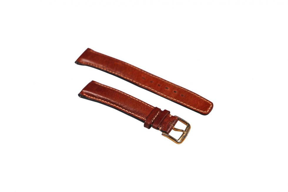 Lot #6469 – Omega 18mm Leather Watch Strap With 16mm Gold Tone Stainless Steel Tang Buckle Watch Parts & Boxes [tag]