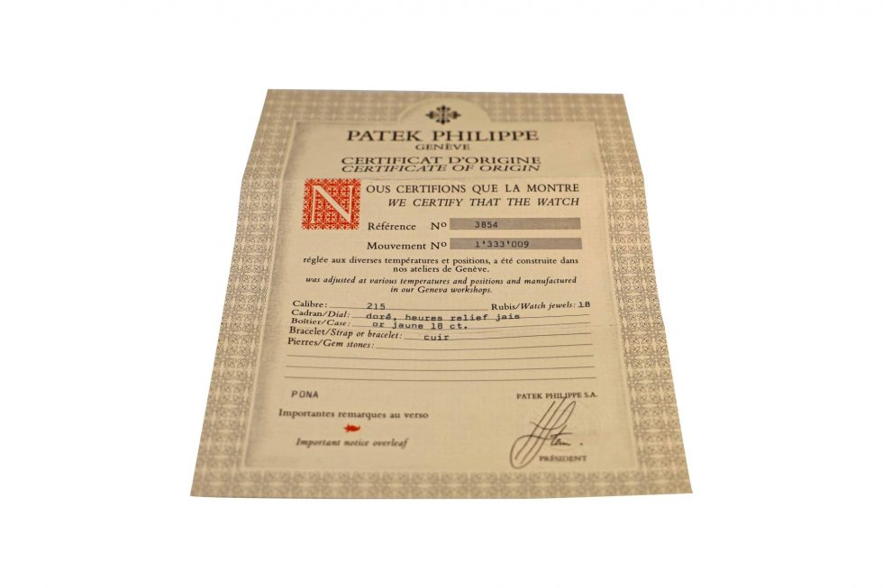 Lot #6490A – Patek Philippe 3854 Watch Warranty Papers Vintage Watch Parts & Boxes [tag]