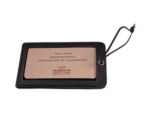 Lot #6506 – Marvin Watch Guarantee Warranty Card With Holder Watch Parts & Boxes [tag]
