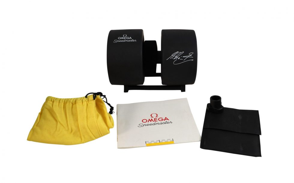 Lot #6853 – Omega Speedmaster Yellow Schumacher Tire Watch Box With Dust Bag Watch Parts & Boxes [tag]