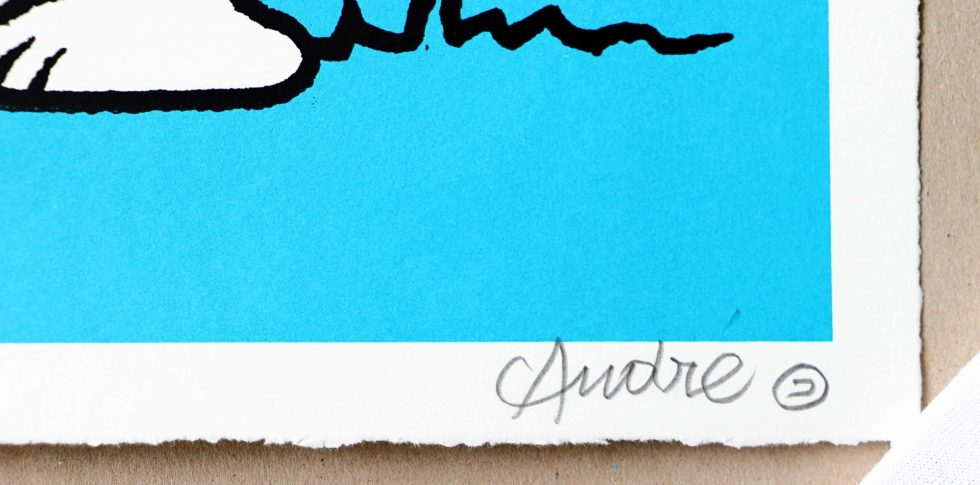 Lot #9549 – Andre Saraiva Mr. A Loves Snoopy Blue Silk Print Limited Edition Andre Saraiva Andre Saraiva