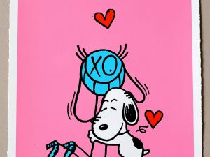 Lot #9499 – Andre Saraiva Mr. A Loves Snoopy Pink Silk Print Limited Edition Andre Saraiva Andre Saraiva