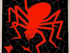 Lot #9516 – Cleon Peterson The Spider & The Fly Screen Print Red & Black LTD ED 100 Art Cleon Peterson