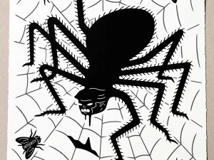 Lot #8603 – Cleon Peterson The Spider & The Fly Screen Print Black & White LTD ED 100 Art Cleon Peterson