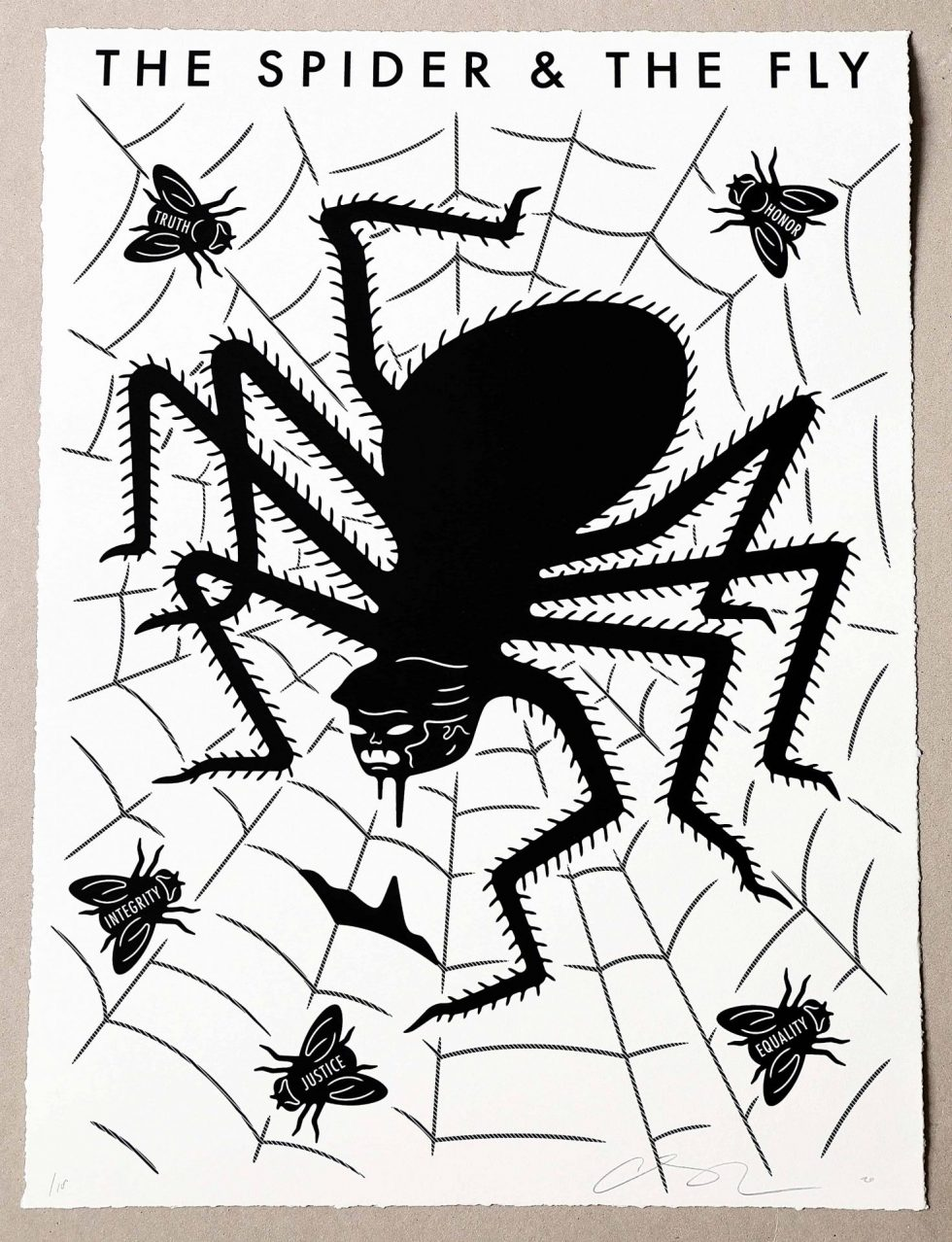 Lot #9523 – Cleon Peterson The Spider & The Fly Screen Print Black & White LTD ED 100 Art Cleon Peterson