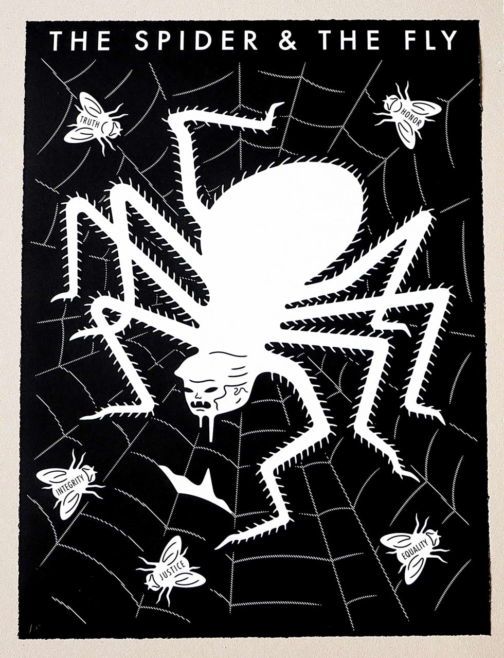 Lot #9541 – Cleon Peterson The Spider & The Fly Screen Print White & Black LTD ED 100 Art Cleon Peterson
