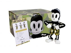 Lot #8653 – Cote Escriva x Thunder Mates Creepy Monkey Camo Sculpture Limited Edition Art Toys Cote Escriva