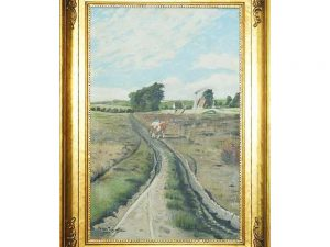 Lot #9076 – Willer Jorgensen Agricultural Farm Scene Oil Painting Art Art