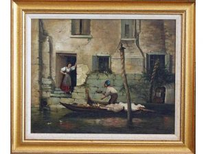 Lot #9082 – Gruppe Gondola Canal Water Scene Oil Painting on Canvas Art Canal Scene