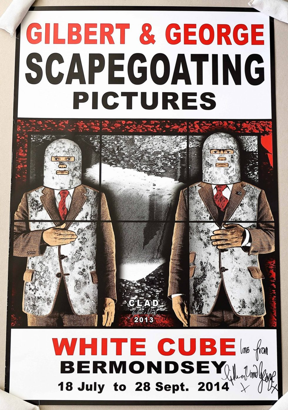 Lot #9502 – Gilbert & George Signed Scapegoating Pictures Clad Poster Art Gilbert & George