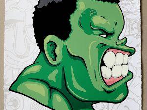 Lot #10530 – Hebru Brantley No Need for Alarm Hulk Green Screen Print LTD ED 50 Art Hebru Brantley