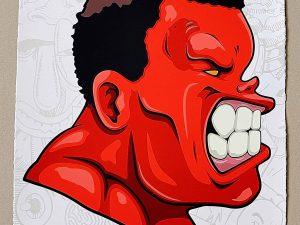 Lot #10444 – Hebru Brantley False Alarm Hulk Red Screen Print LTD ED 15 Art Hebru Brantley