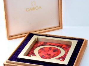 Lot #10951 – Vintage Omega Red Ceramic Ashtray Rare Rarities Ashtray